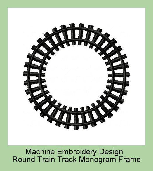 Train Track Monogram Frame Machine Embroidery Design