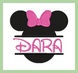 Split Minnie Mouse Name Frame - Machine Embroidery Design