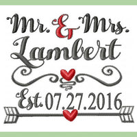 Mr. and Mrs. with Established Date - scrolly heart dividers machine embroidery design
