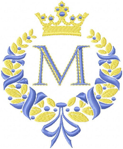 Laurel Wreath with Crown and Ribbon - Machine Embroidery Design