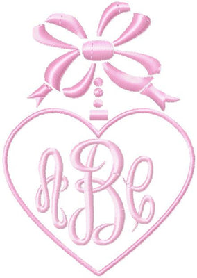 Heart and Bow Monogram Frame - Comes in 4 sizes