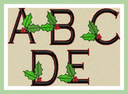 "Christmas Holly Font -2 inch letters with 1.15"" side letters  Machine Embroidery Font-"
