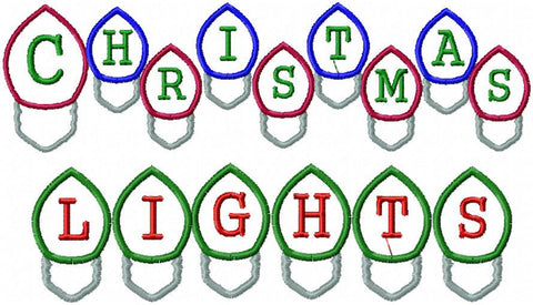 Christmas Light Bulb font - Applique letters machine embroidery design