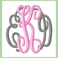 Classic Circle Monogram  4 inch size  Machine Embroidery Font -