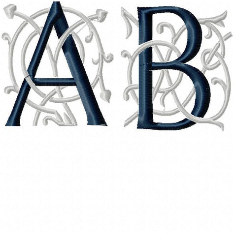 Mia Bella Monogram Font - Comes in 3.5 inch size 2 color Machine Embroidery Font