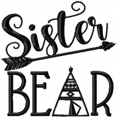 Sister Bear - Machine Embroidery Design comes in 4x4,5x5,6x6,7x7, 8x8 inch sizes
