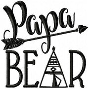 Papa Bear - Machine Embroidery Design - Comes in 4x4, 5x5, 6x6, 7x7, 8x8 Sizes