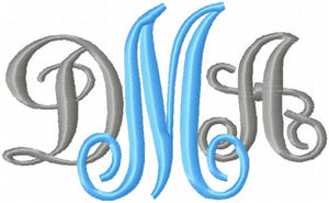 Fancy Vines Interlocking Font - Comes in 1.5,2.0,2.75,3.0 and 3.75  Inches in Size - Machine Embroidery Monogram Font