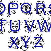 Penny Monogram Font  Comes in 2,3,4,5,6,7 inch sizes - machine Embroidery Font