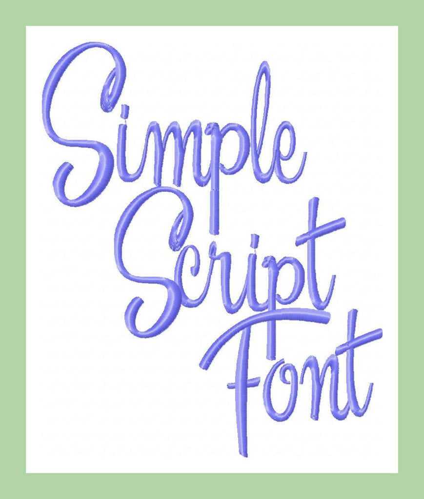 simple script font 1 2  and 3 inch machine embroidery font