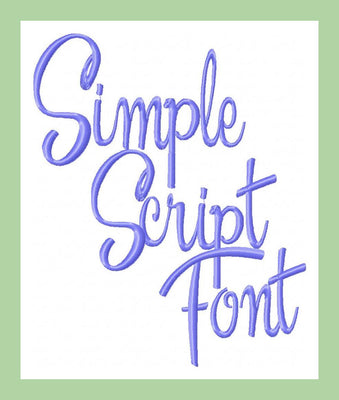Simple Script Font  1,2, and 3 inch  Machine Embroidery Font -