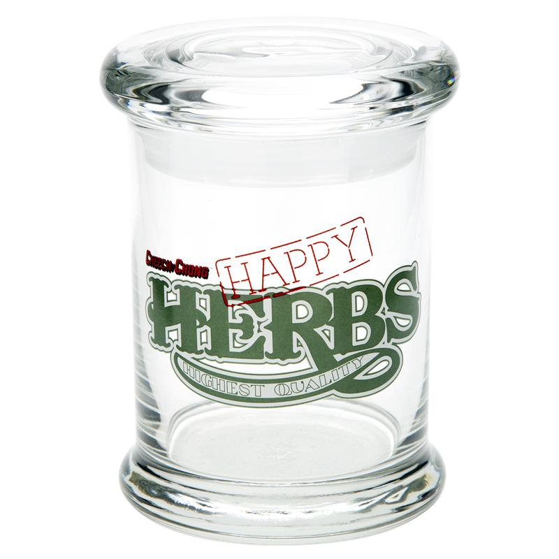 Cheech and Chong Glass Pop Top Jar - Happy Herbs