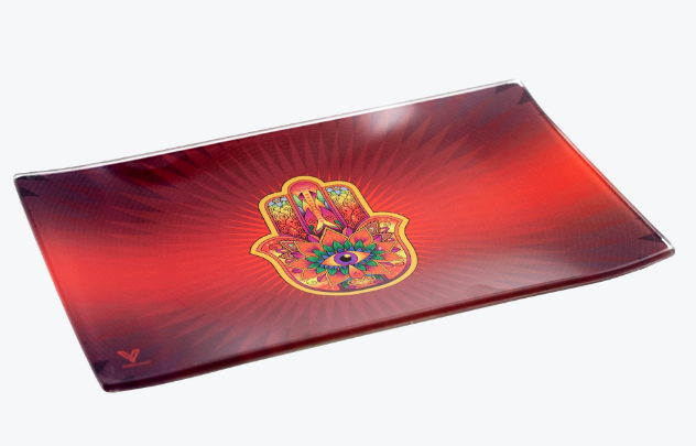 V Syndicate Glass Rolling Tray Red Hamsa