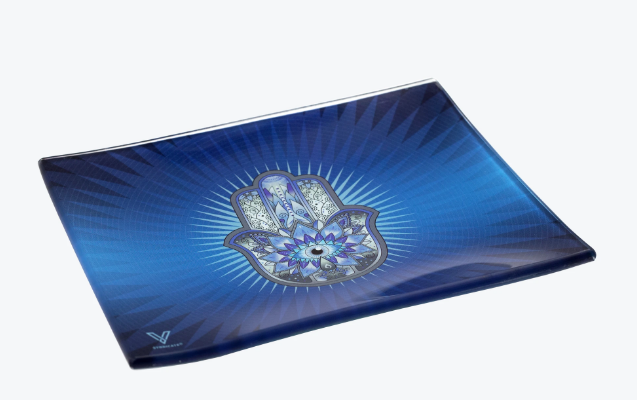 V Syndicate Glass Rolling Tray Blue Hamsa