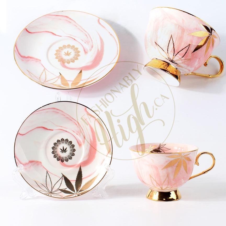 Golden Cannabis Leaf High Tea Cup & Saucer Set by Fashionably High