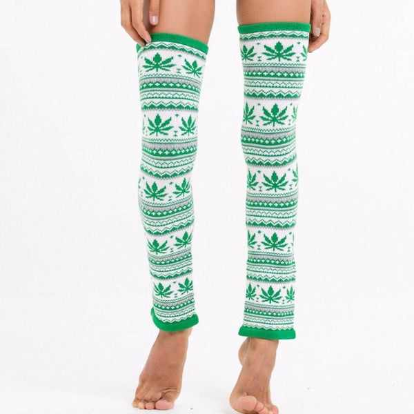 Knitty Kitty Weed Leaf Leg Warmers