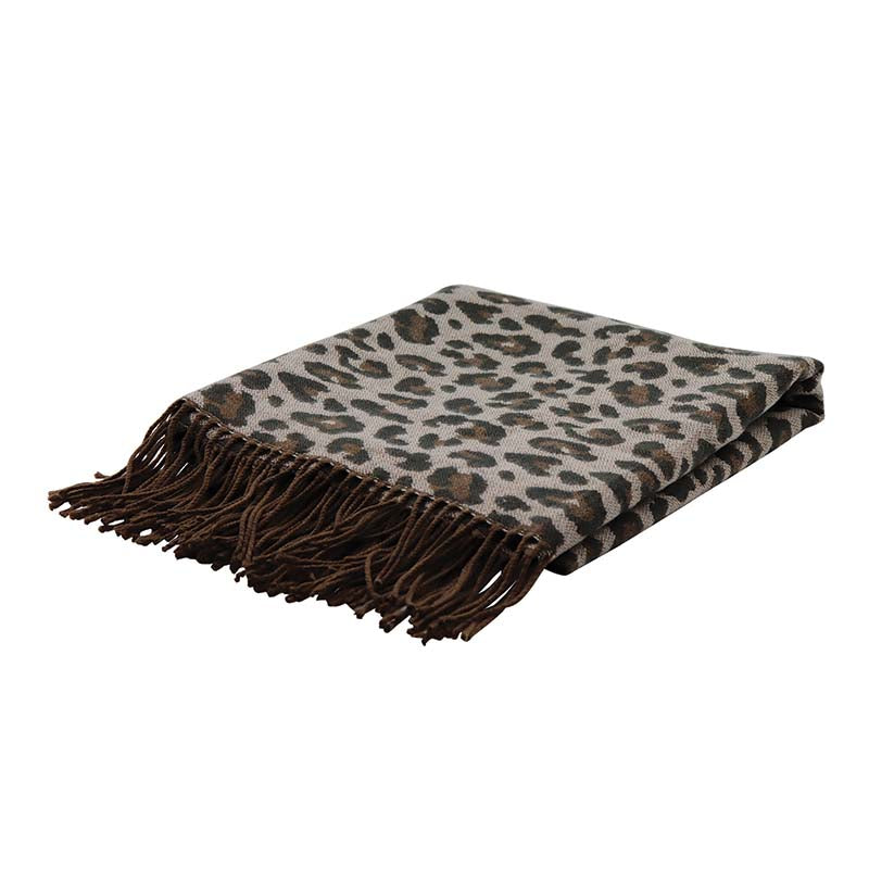 LEOPARD NEUTRAL JACQUARD THROW
