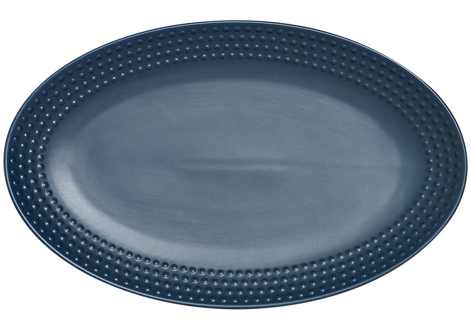 Abode Textured Ink Blue Oblong Platter