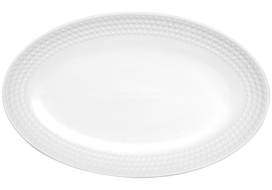 Abode Textured White Oblong Platter