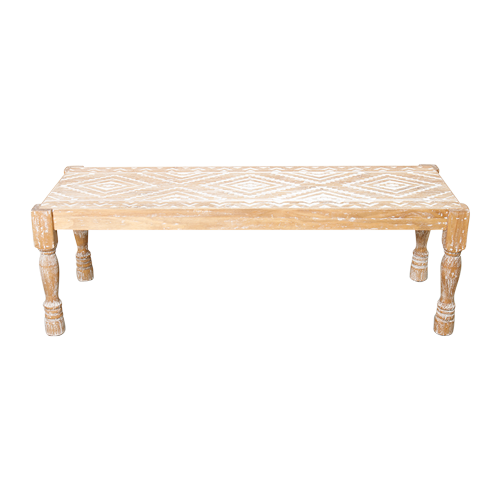 Sierra Carved Wood Bench Seat