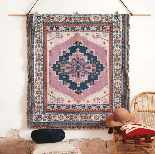 Strawberry Fields - Woven Picnic Throw Rug