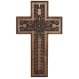 BRUN CARVED WOOD CROSS