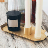 Black Blaze Hexa Brass Candle Tray