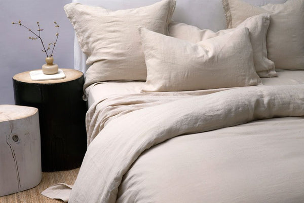 Bemboka Pure Linen Pair of Tailored Pillow Cases - Stone