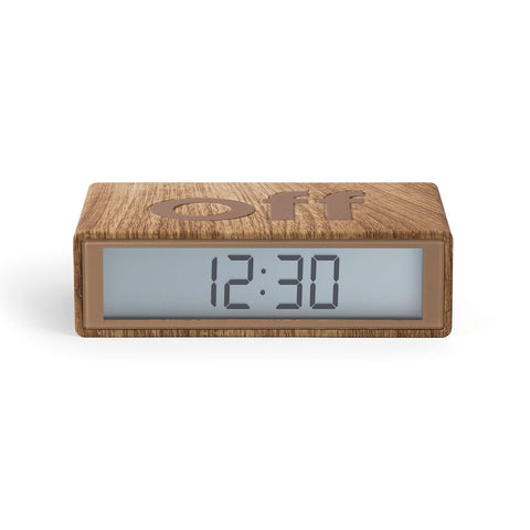 Lexon Flip Alarm Clock - Light Wood