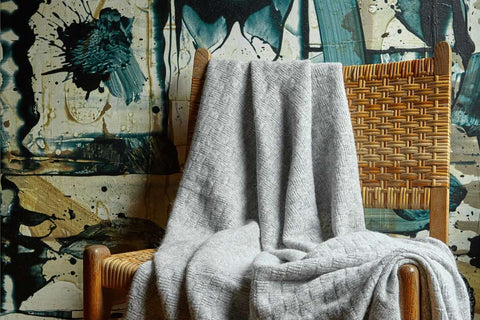 Bemboka Angora/Merino Light Box Throw - Pale Grey