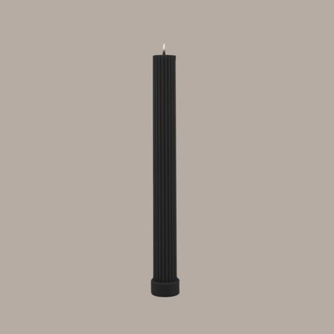 Black Blaze Column Pillar Candle - Black
