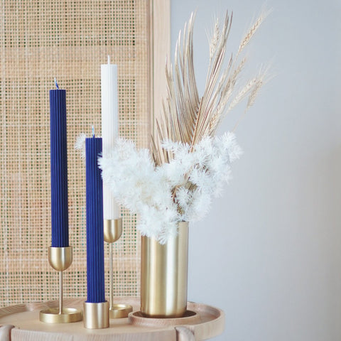 Black Blaze Column Pillar Candle - Blue