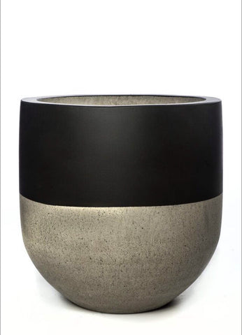 Tall Concrete Pot - Black Top LARGE