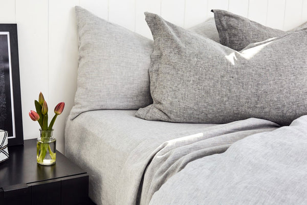 Bemboka Pure Linen Pair of Tailored Pillow Cases - Marl Grey