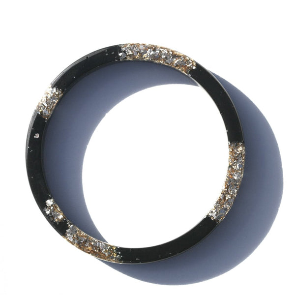 Martha Jean Resin Glitter Bangle - Black