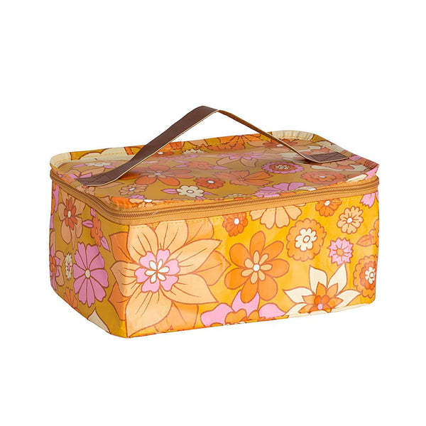 Kollab Toiletry Stash Bag - Retro Mustard Floral