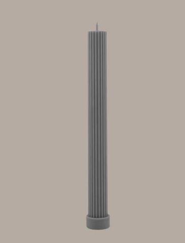 Black Blaze Column Pillar Candle - Grey
