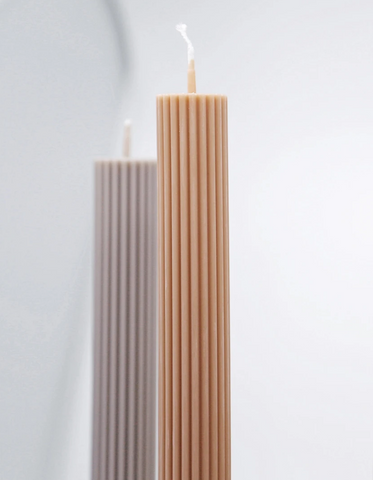 Black Blaze Column Pillar Candle - Honey