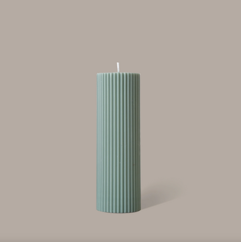 Black Blaze Wide Column Pillar Candle - Eucalyptus