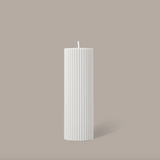 Black Blaze Wide Column Pillar Candle - Cream White