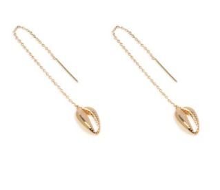 Carly Paiker Athena Cowrie Threader Gold Earrings