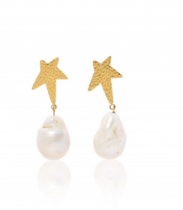 Carly Paiker Siren Star Baroque Pearl Earrings - Gold