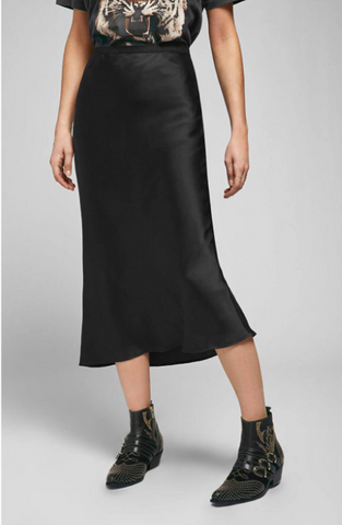 Anine Bing Bar Silk Skirt Black