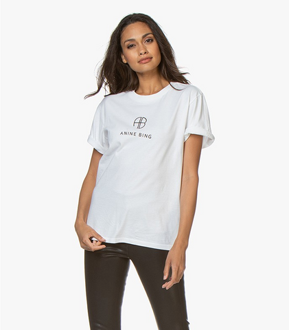 Anine Bing Hudson Monogram Tee - Optic White