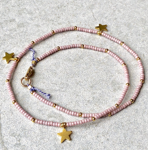 Dusty Pink 3 Stars Fine Bead Necklace