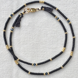 Fine Gold Choker - Black & Gold with Crystal detail