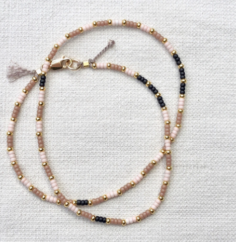 Fine Gold Choker - Tonal stripes
