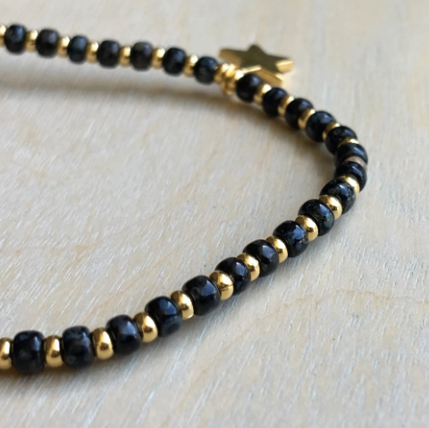 Black & Gold Star Bracelet