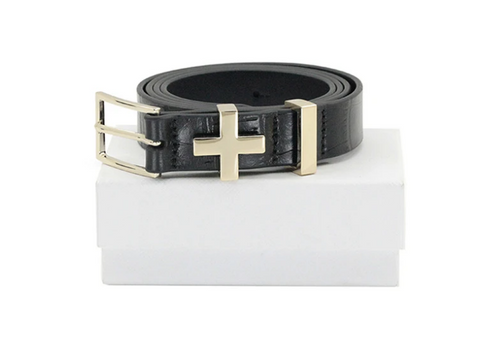 Dylan Kain The Brooklyn Croc Belt Light Gold