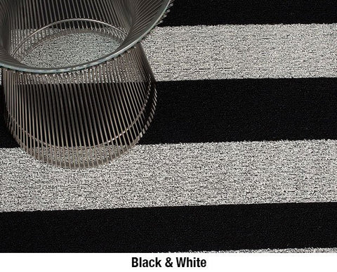 Chilewich Shag Big Mat Bold Stripe - Black/White Stripe